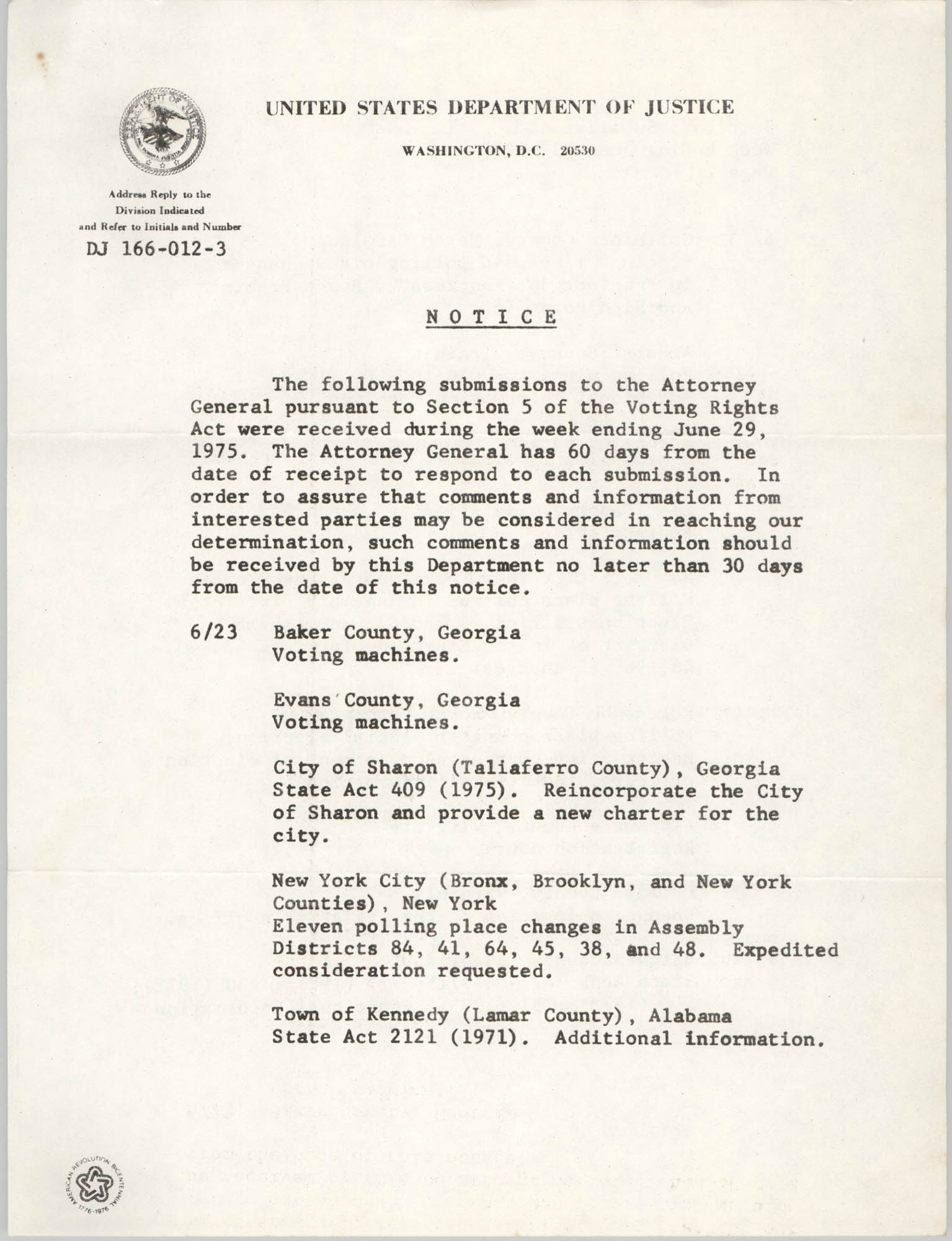 United States Department of Justice Notice, June 1975