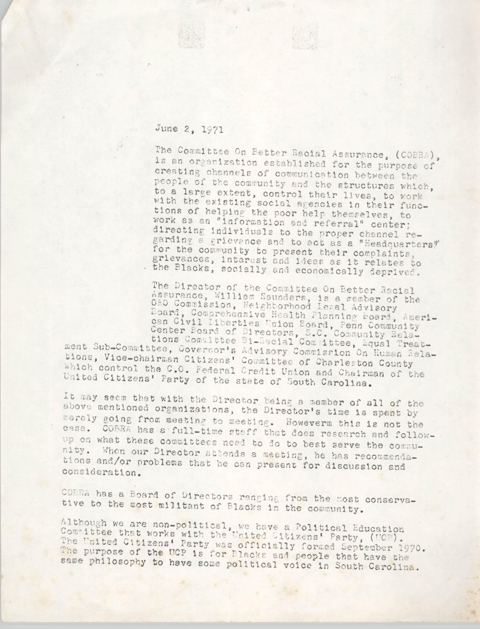 COBRA Materials, June 2, 1971