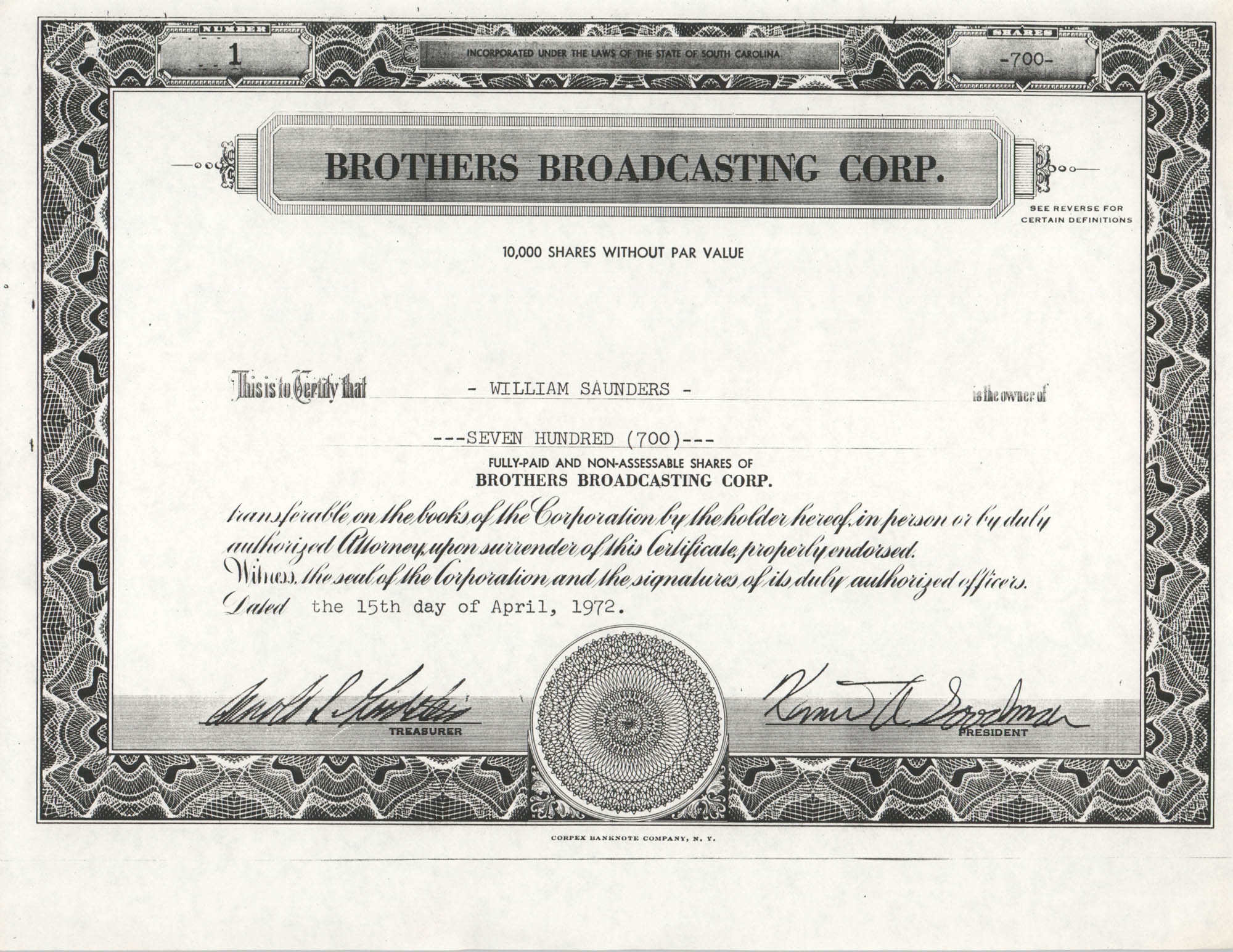 Brothers Broadcasting Corporation Share Certificate