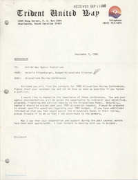 Trident United Way Memorandum, September 9, 1980