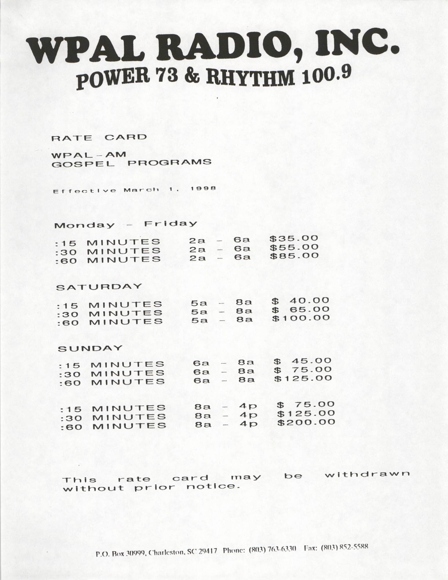 WPAL Radio, Inc., Rate Card