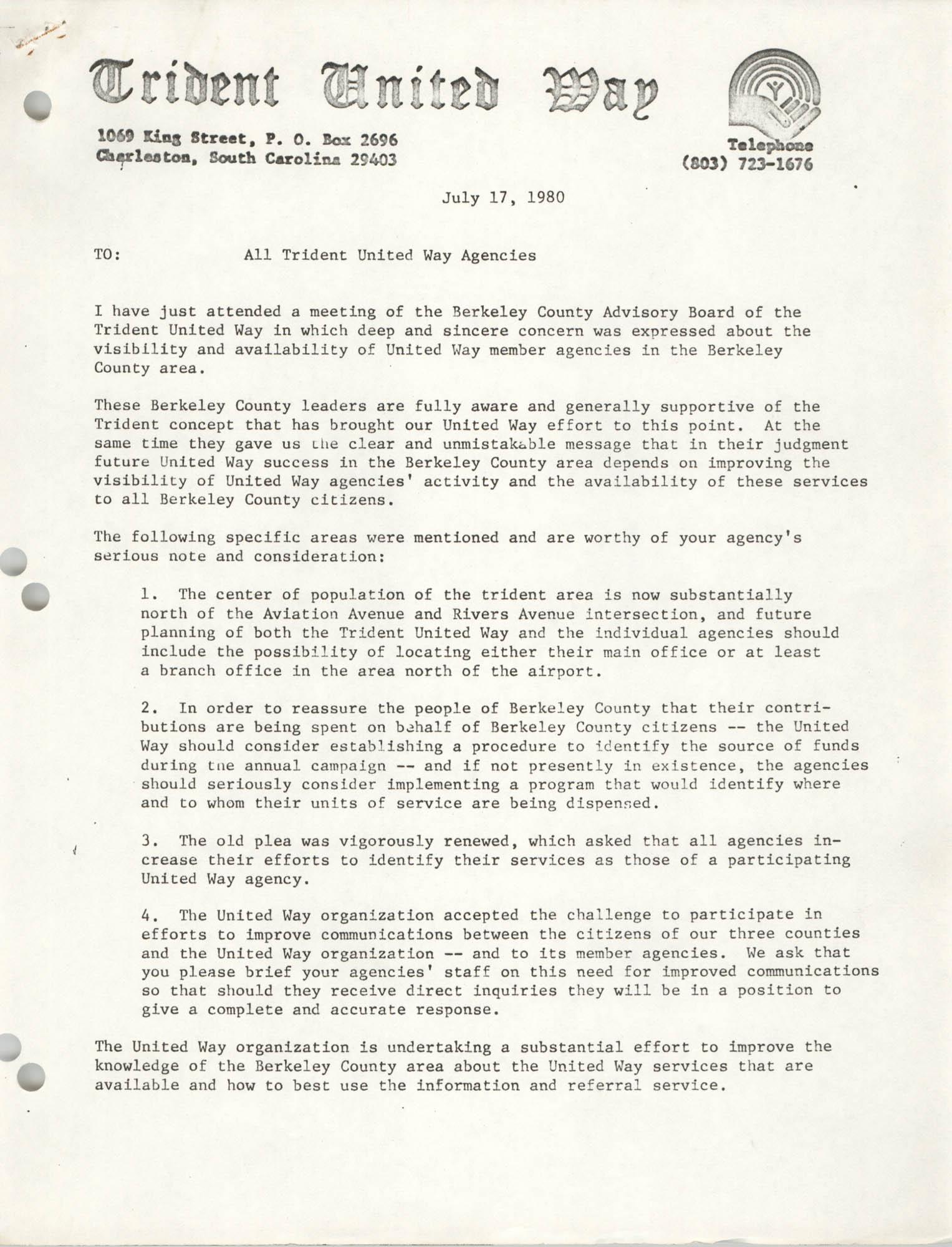 Trident United Way Memorandum, July 17, 1980
