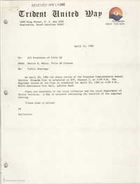 Trident United Way Memorandum, April 11, 1980