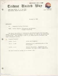 Trident United Way Memorandum, October 9, 1980