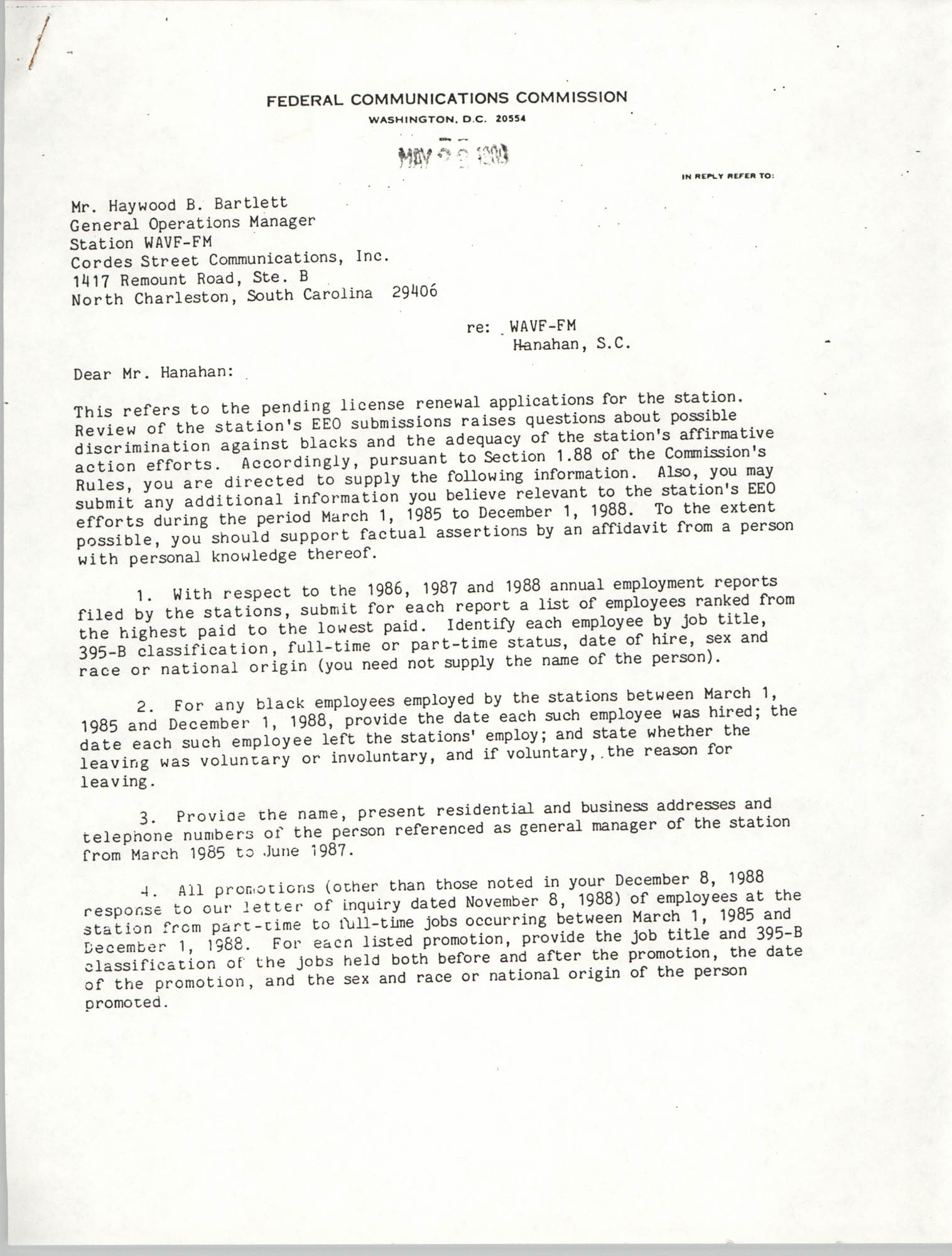 Letter from Glenn A. Wolfe to Haywood B. Bartlett, May 22, 1989