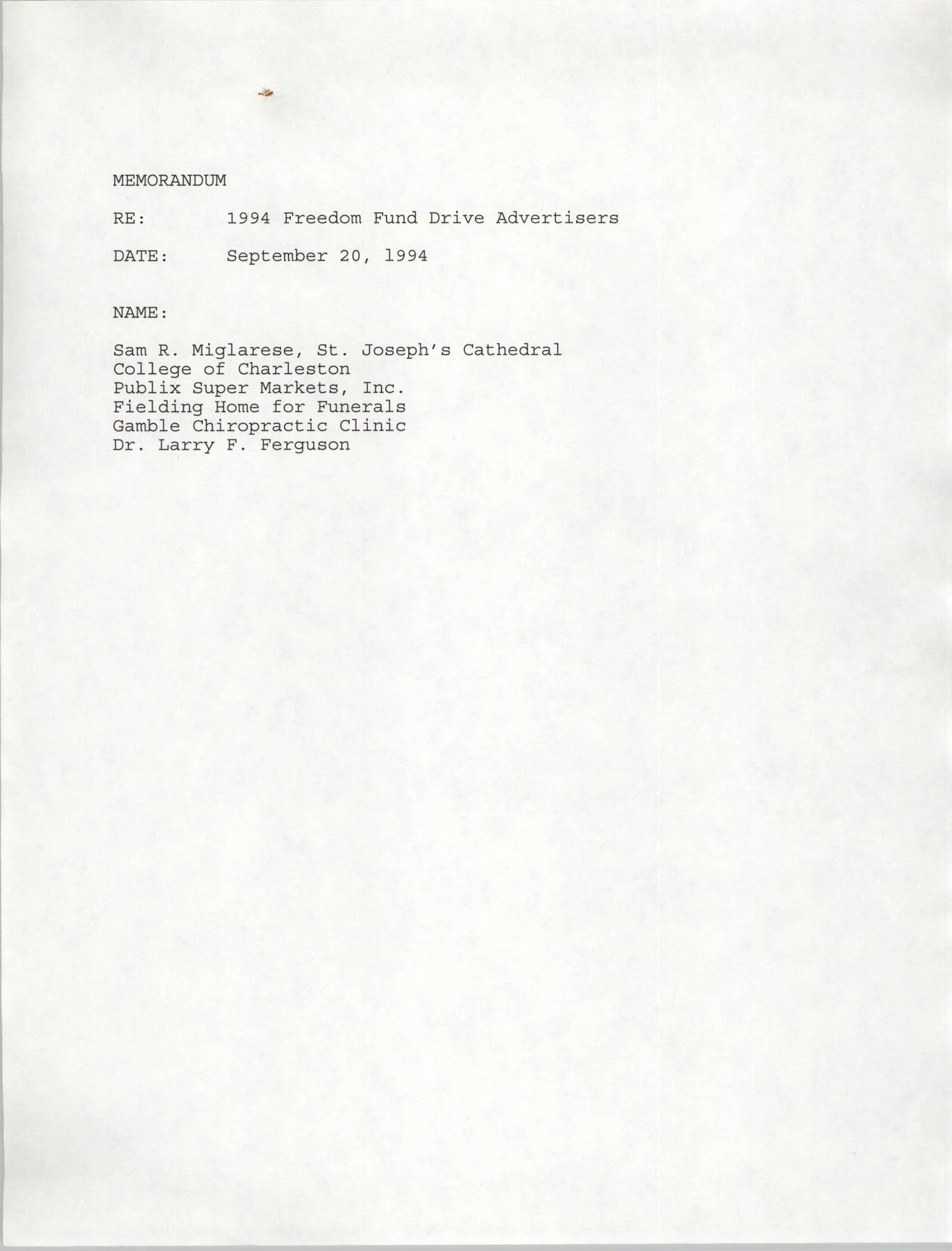 Charleston Branch NAACP Memorandum, September 20, 1994