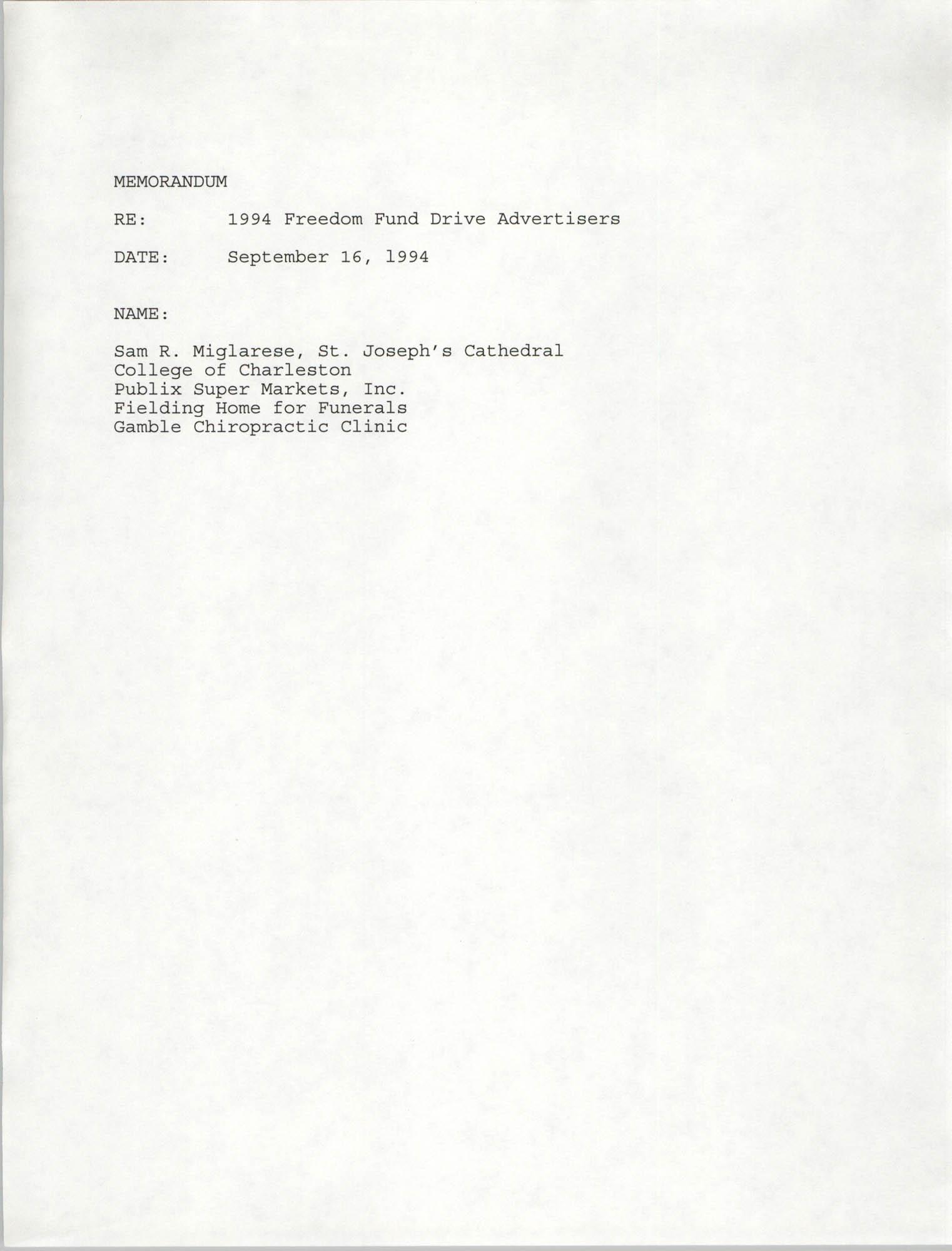 Charleston Branch NAACP Memorandum, September 16, 1994