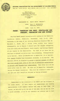 NAACP Memorandum, June 19, 1992