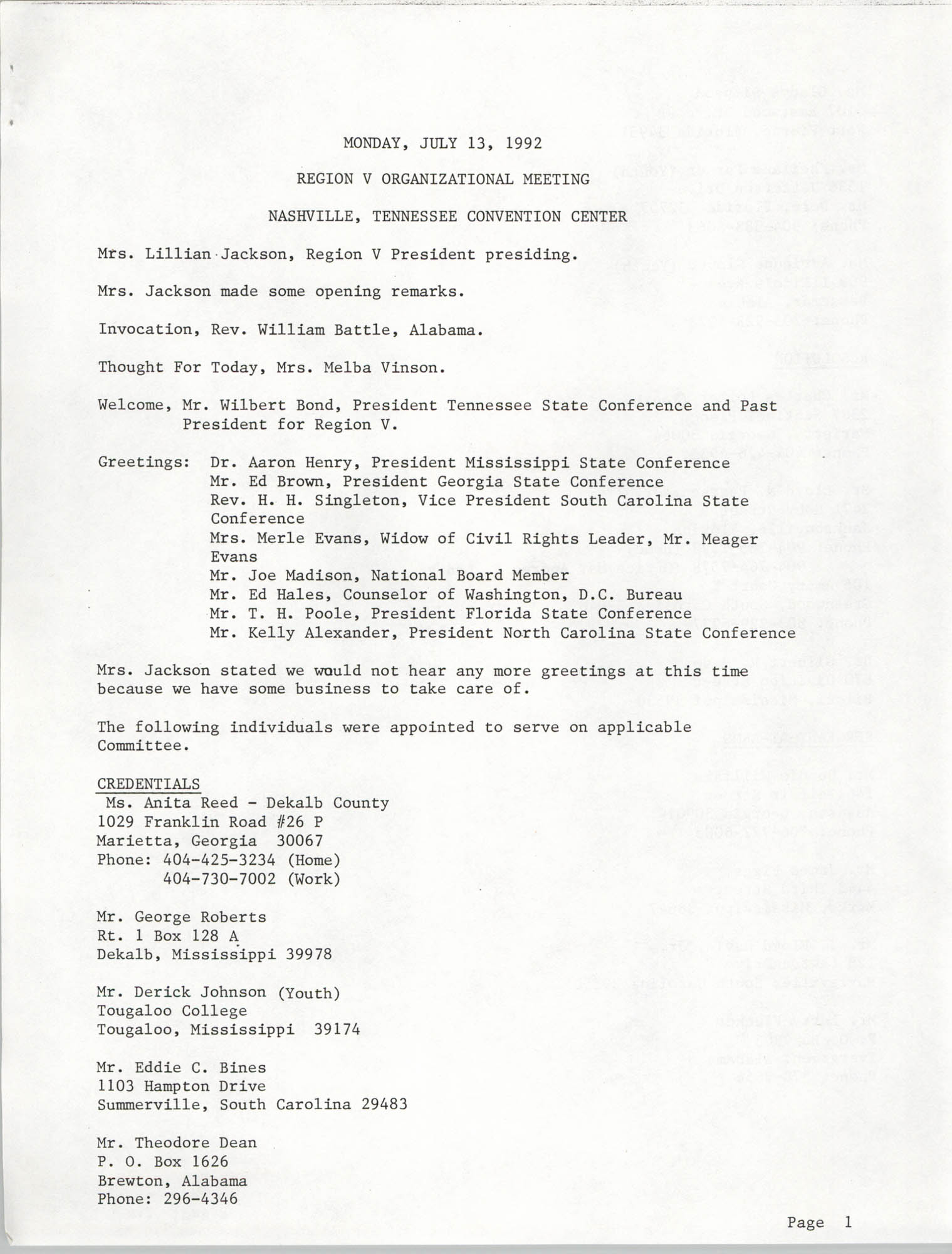 NAACP Region V Organizational Meeting, July 13, 1992