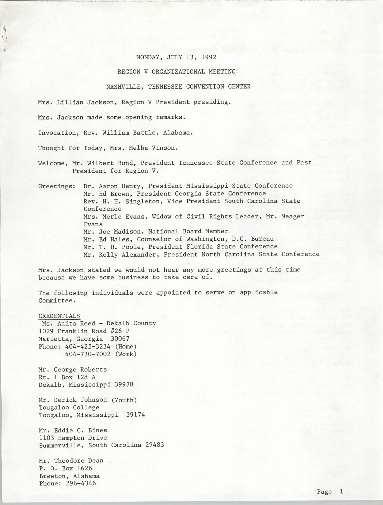 Region V Organizational Meeting Minutes, July 13, 1992