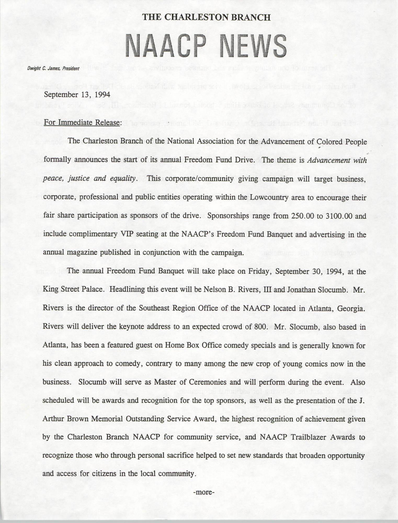NAACP News, September 13, 1994
