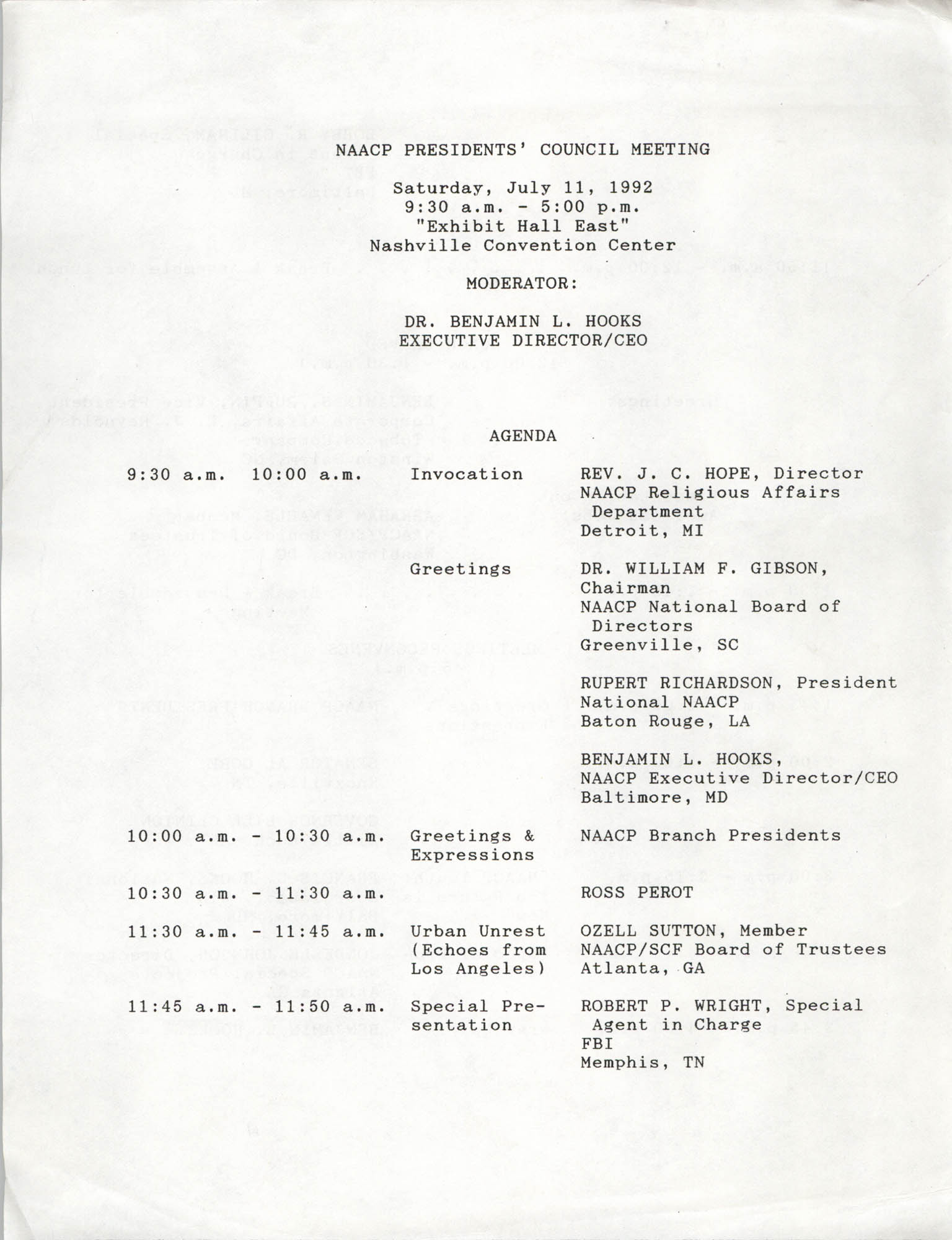 NAACP Presidents' Council Meeting Agenda, July 11, 1992
