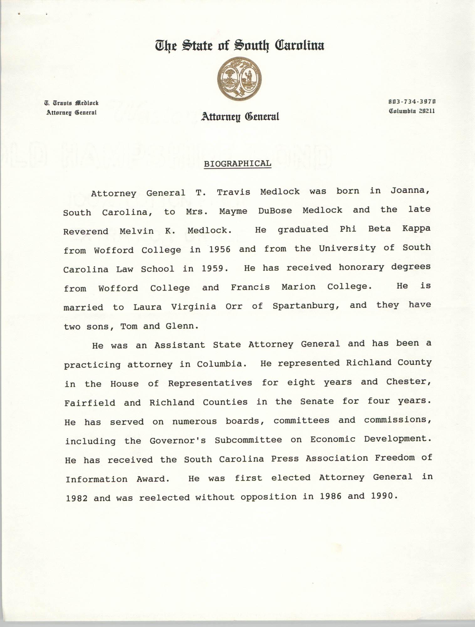 Attorney General T. Travis Medlock Biographical Information