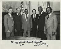 Photograph of Isaiah Bennett, Dick Riley, and Others, April 1979