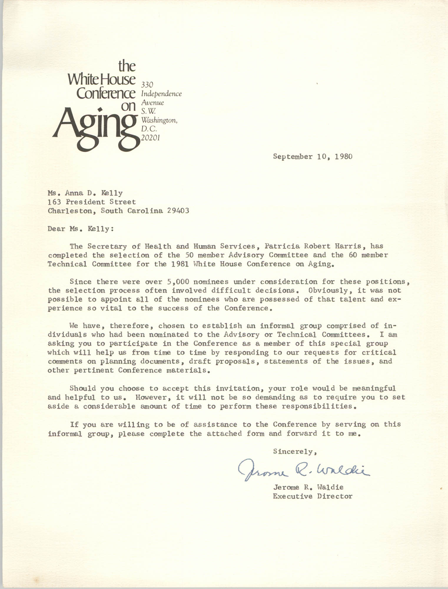 Letter from Jerome R. Waldie to Anna D. Kelly, September 10, 1980