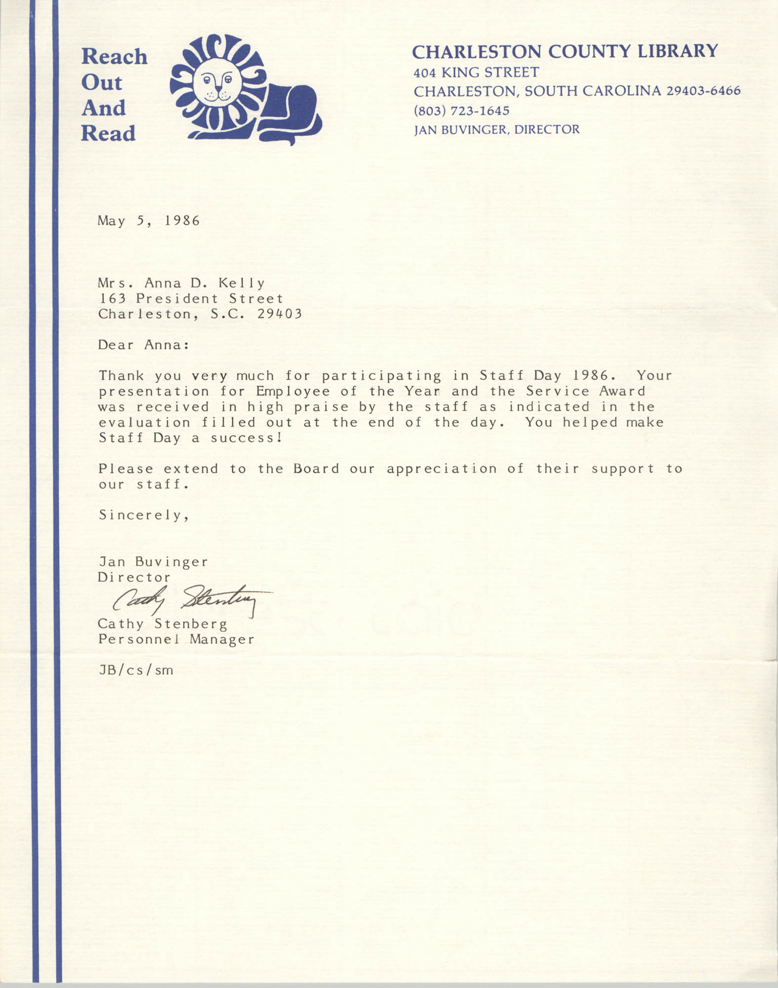Letter from Cathy Stenberg to Anna D. Kelly, May 5, 1986