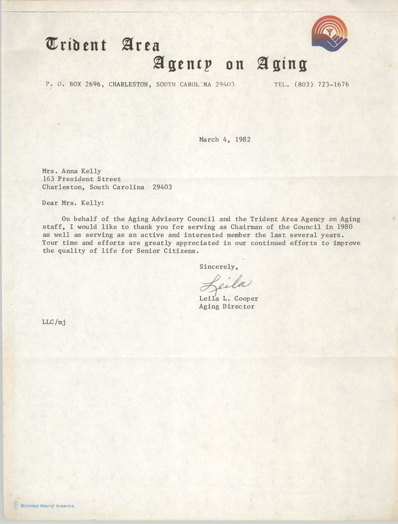 Letter from Leila L. Cooper to Anna D. Kelly, March 4, 1982