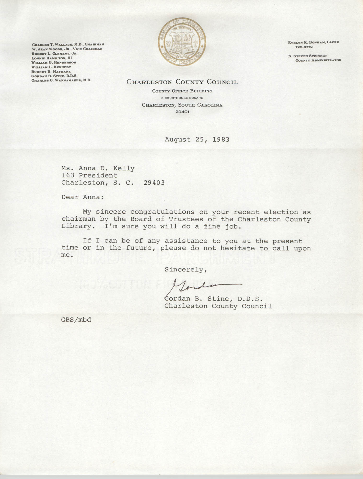 Letter from Gordan B. Stine to Anna D. Kelly, August 25, 1983