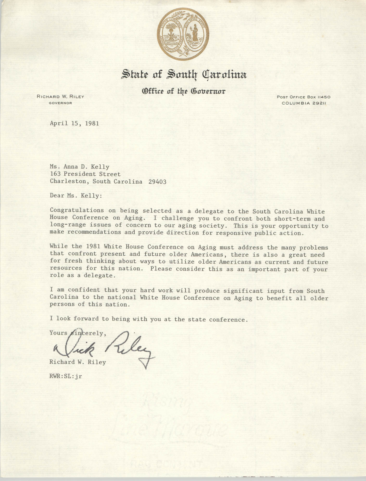 Letter from Richard W. Riley to Anna D. Kelly, April 15, 1981