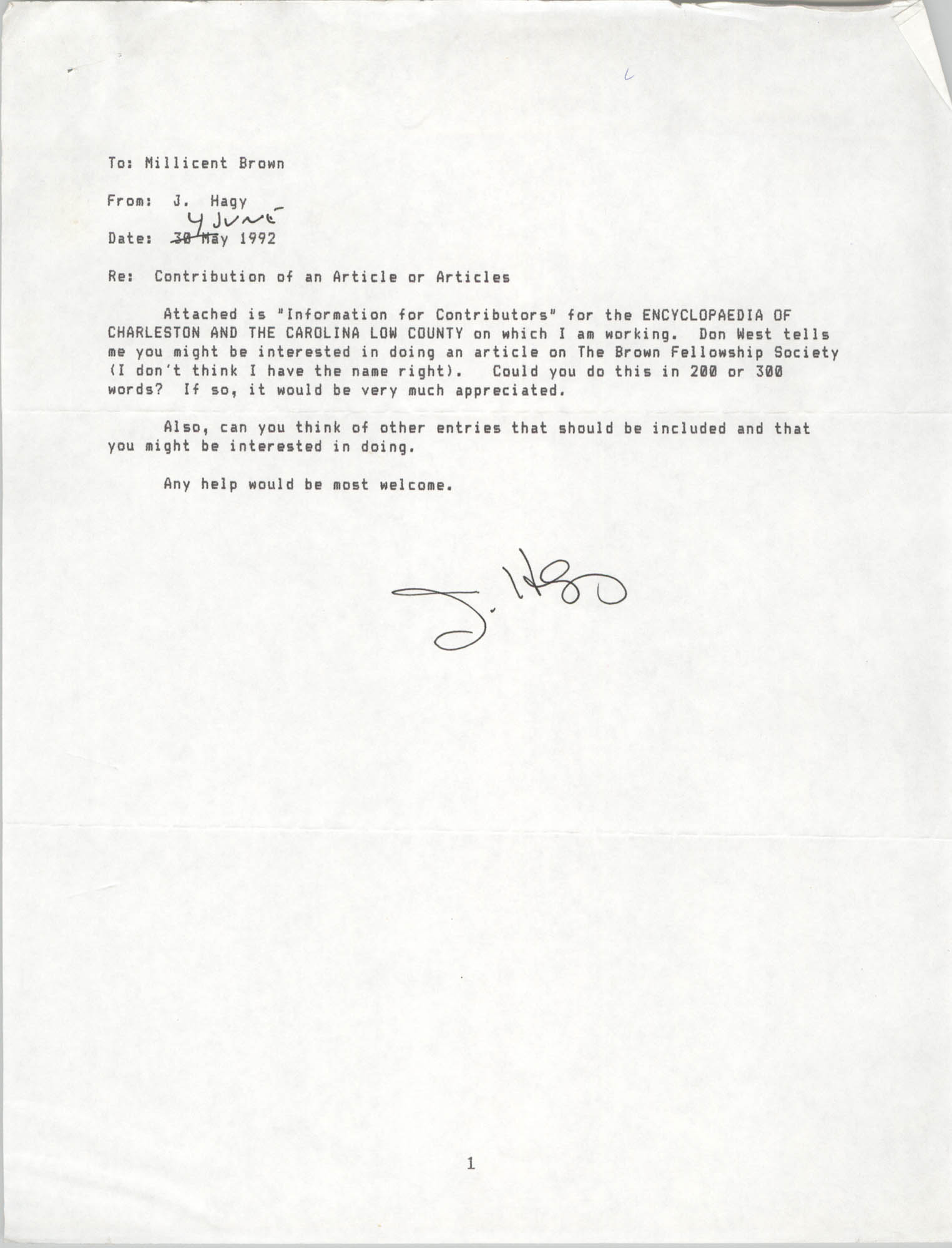 Letter from J. Hagy to Millicent Brown, June 4, 1992