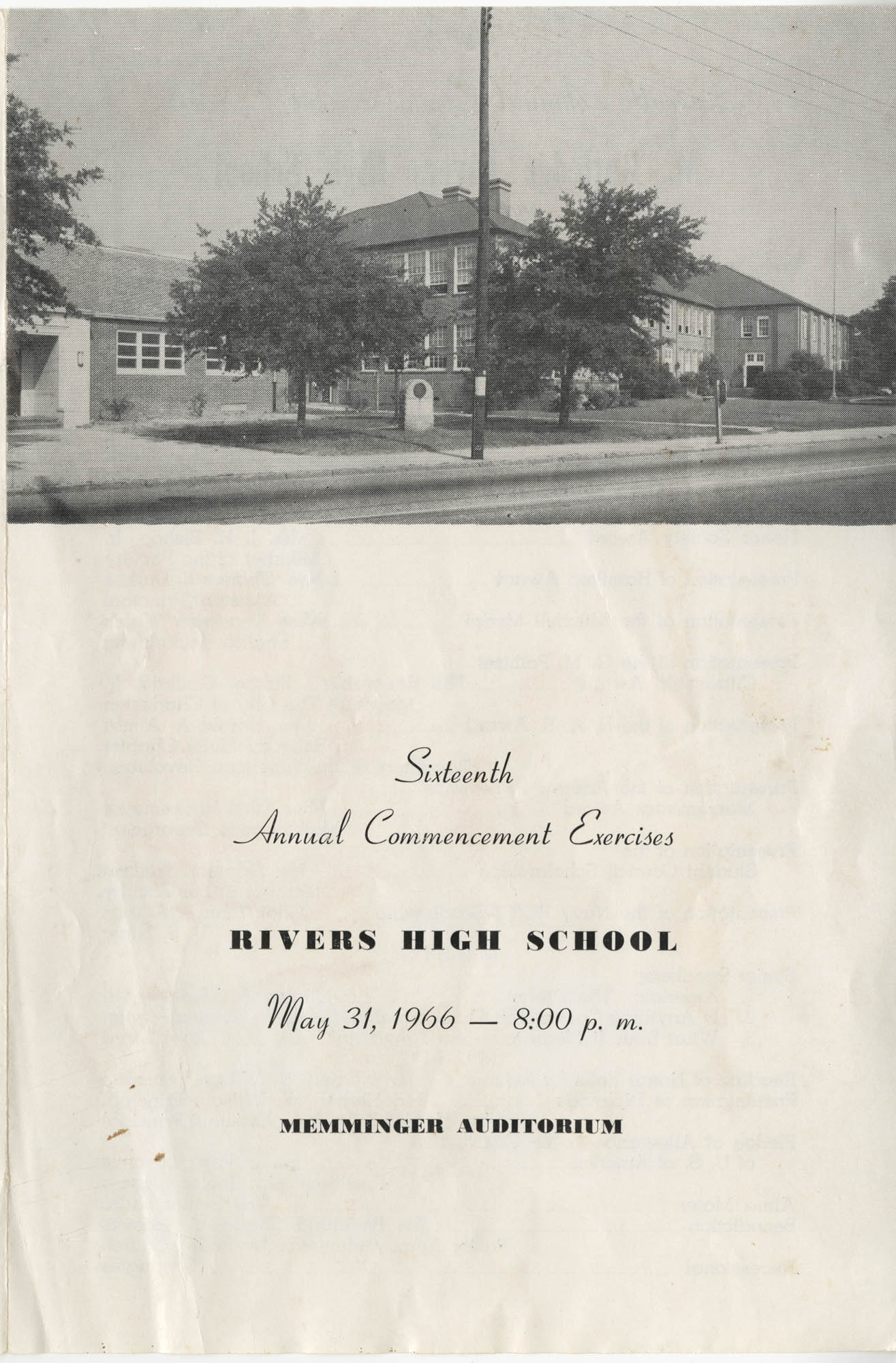 Sixteenth Annual Commencement Exercises for Rivers High School