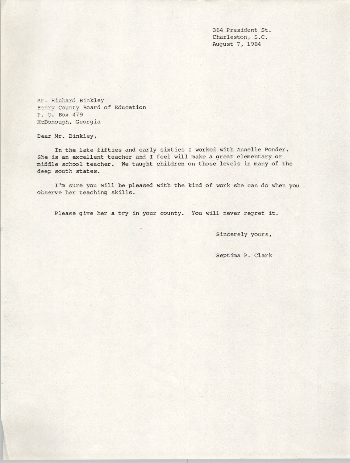 Letter from Septima P. Clark to Richard Binkley, August 7, 1984