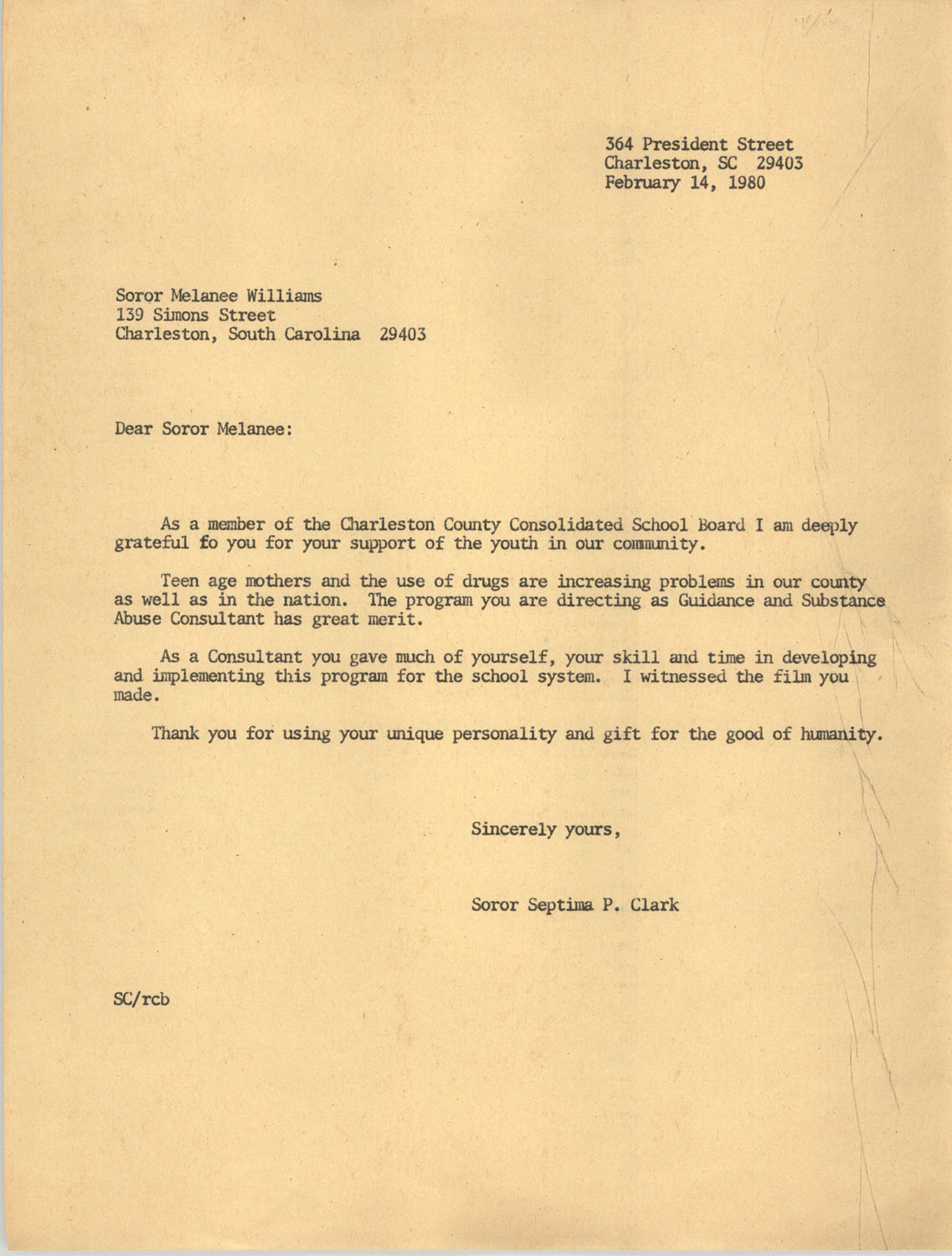 Letter from Septima P. Clark to Melanee Williams, February 14, 1980