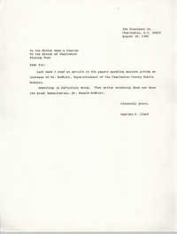 Letter from Septima P. Clark to the Editor for the News and Courier/Evening Post, August 28, 1985