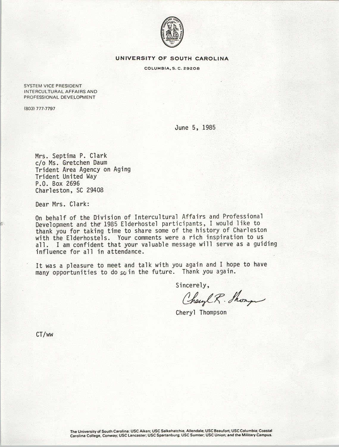 Letter from Cheryl Thompson to Septima P. Clark, June 5, 1985