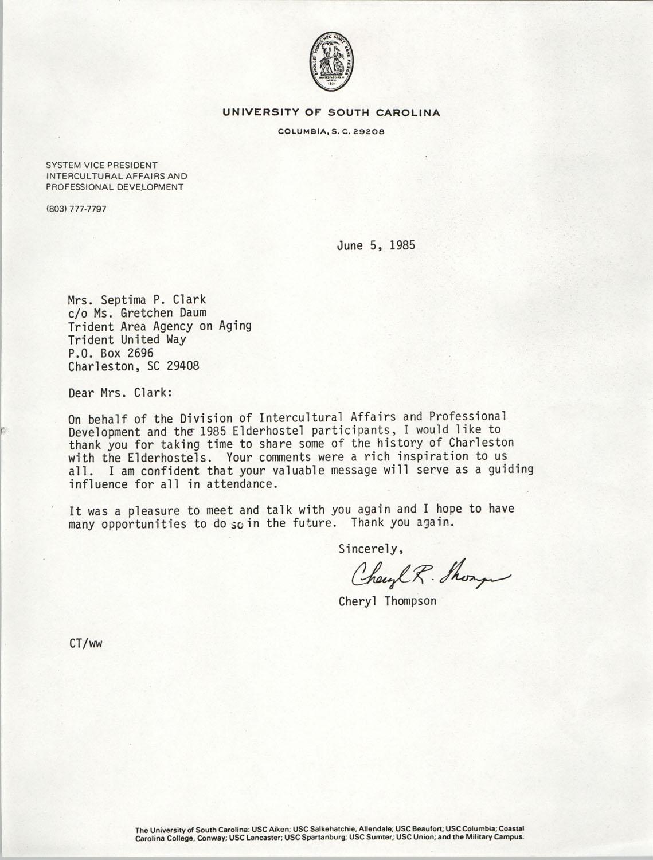 Letter from Cheryl Thompson to Septima P. Clark, June 5, 1985