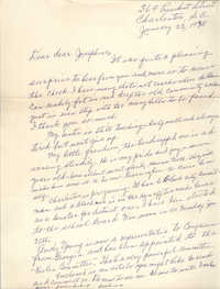 Letter from Septima P. Clark to Josephine Rider, January 22, 1975