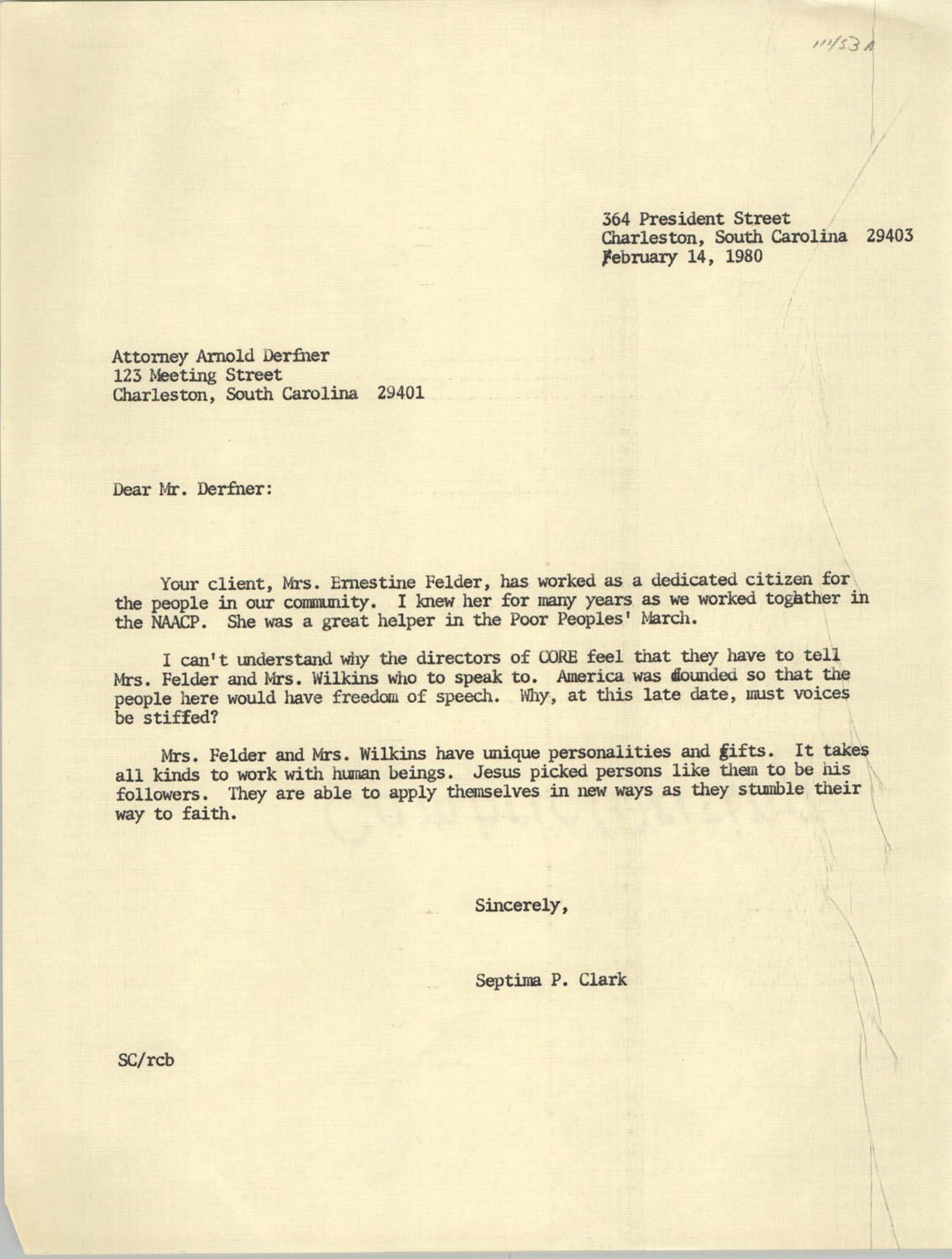 Letter from Septima P. Clark to Arnold Derfner, February 14, 1980