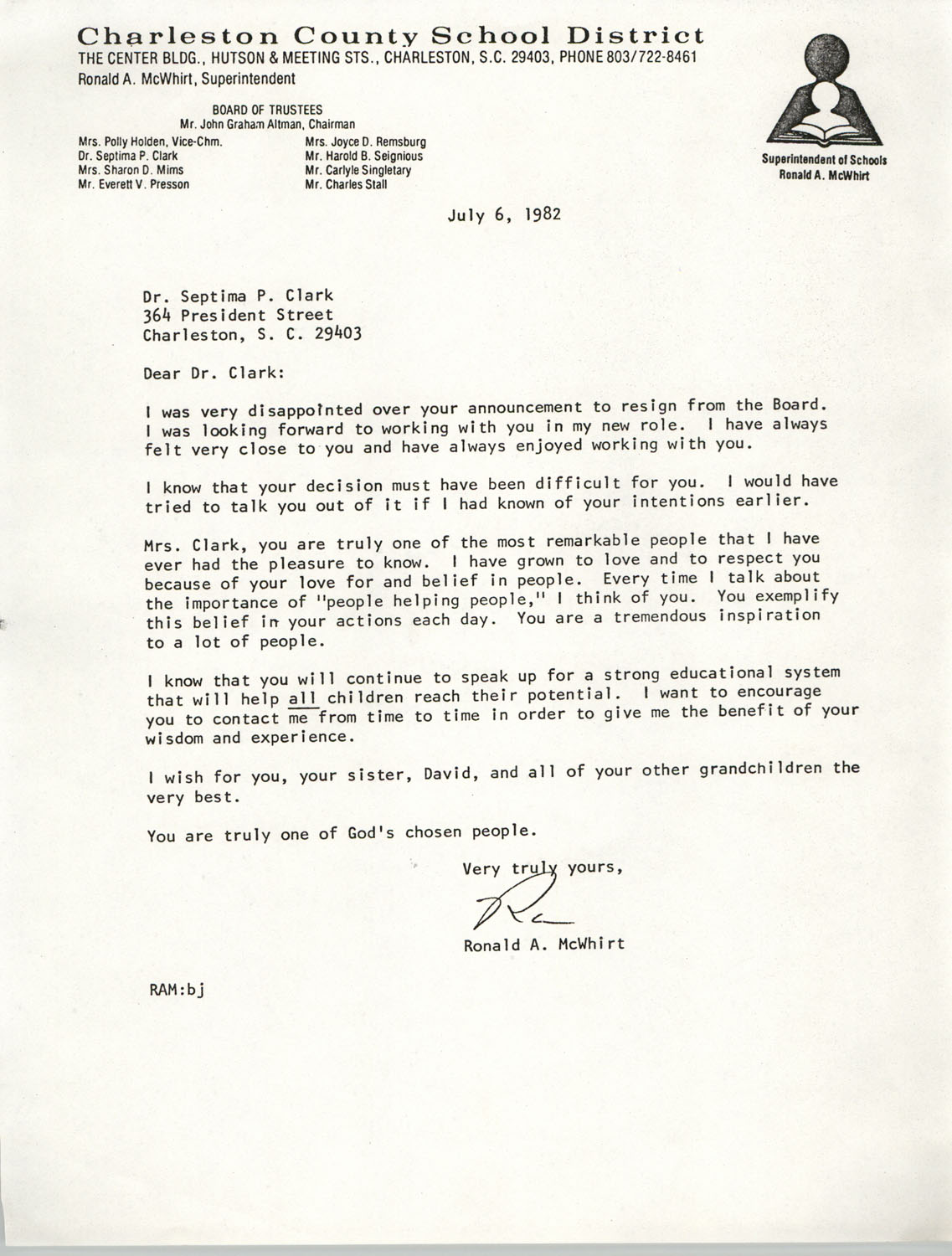 Letter from Ronald A. McWhirt to Septima P. Clark, July 6, 1982