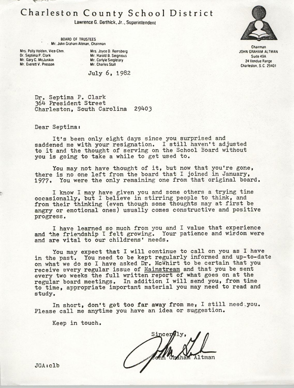Letter from John Graham Altman, July 6, 1982
