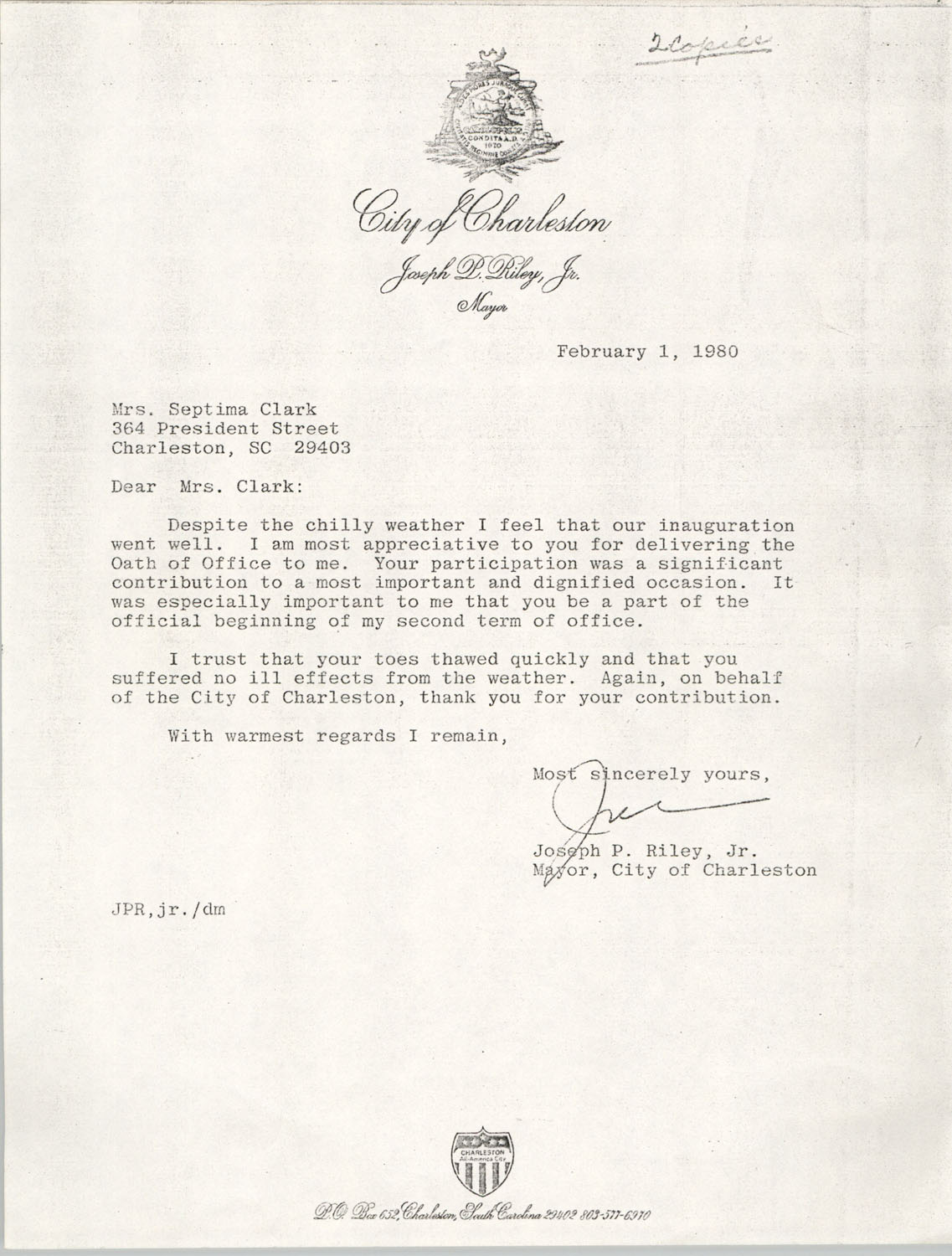 Letter from Joseph P. Riley, Jr. to Septima Clark, February 1, 1980