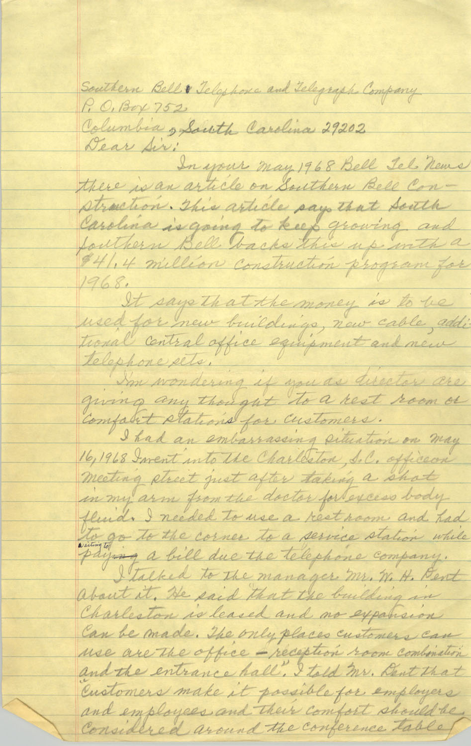 Letter from Septima P. Clark to Southern Bell Telephone and Telegraph Company, 1968