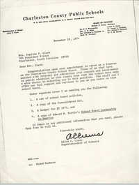 Letter from Alton C. Crews to Septima P. Clark, November 18, 1974