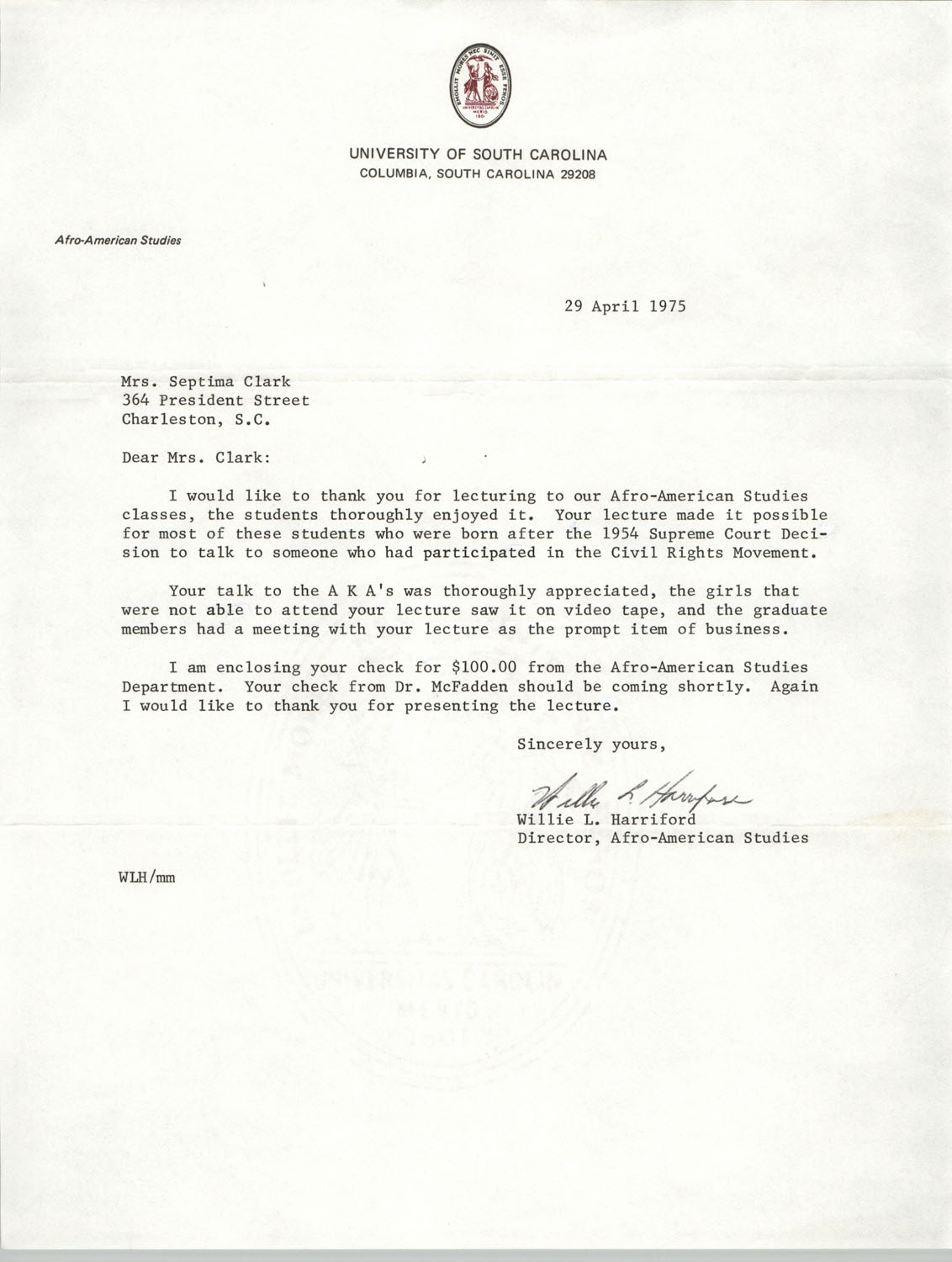 Letter from Willie L. Harriford to Septima Clark, April 29, 1975