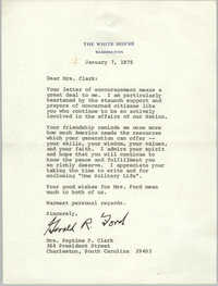 Letter from Gerald R. Ford to Septima P. Clark, January 7, 1975
