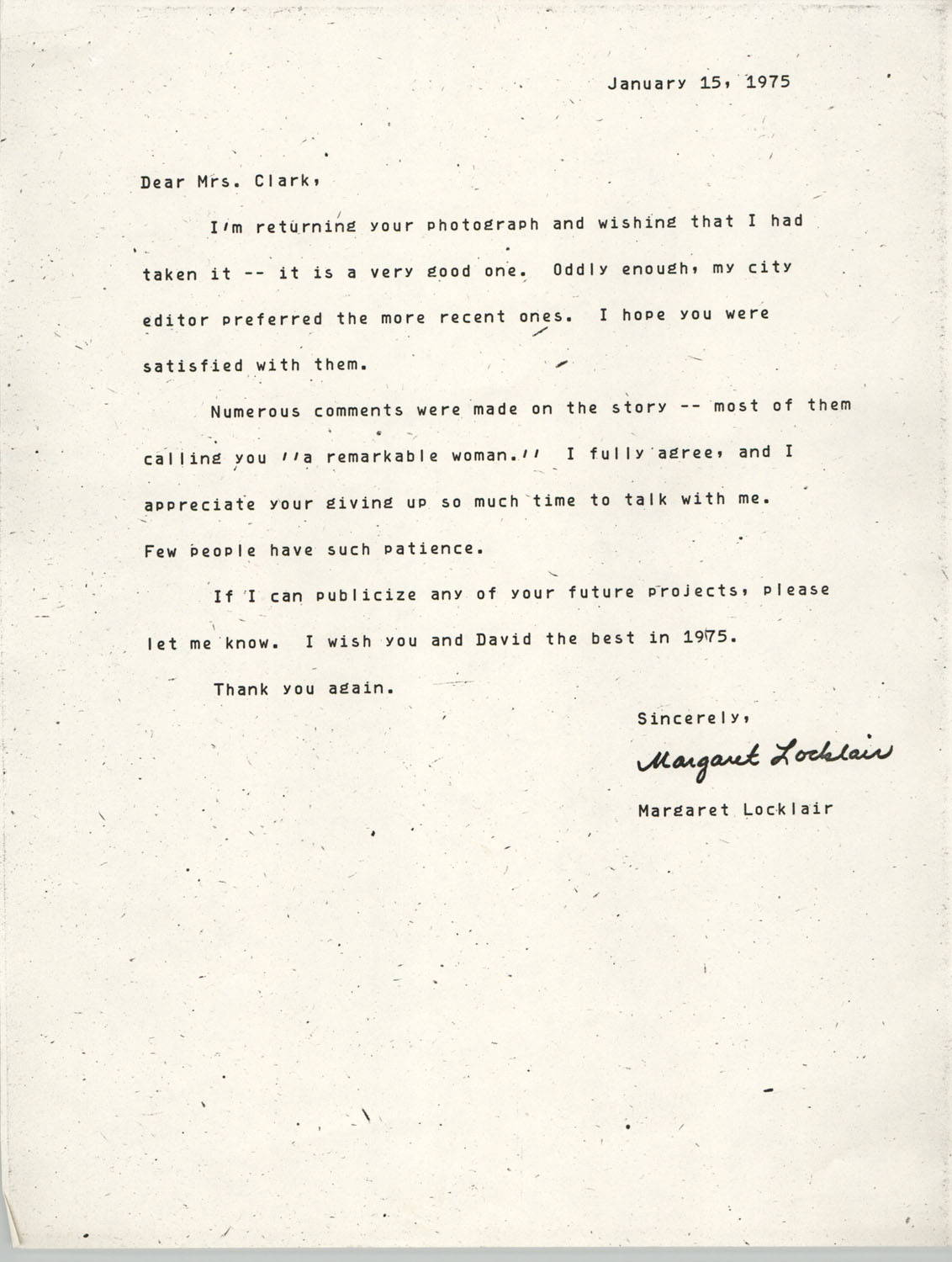 Letter from Margaret Locklair to Septima P. Clark, January 15, 1975