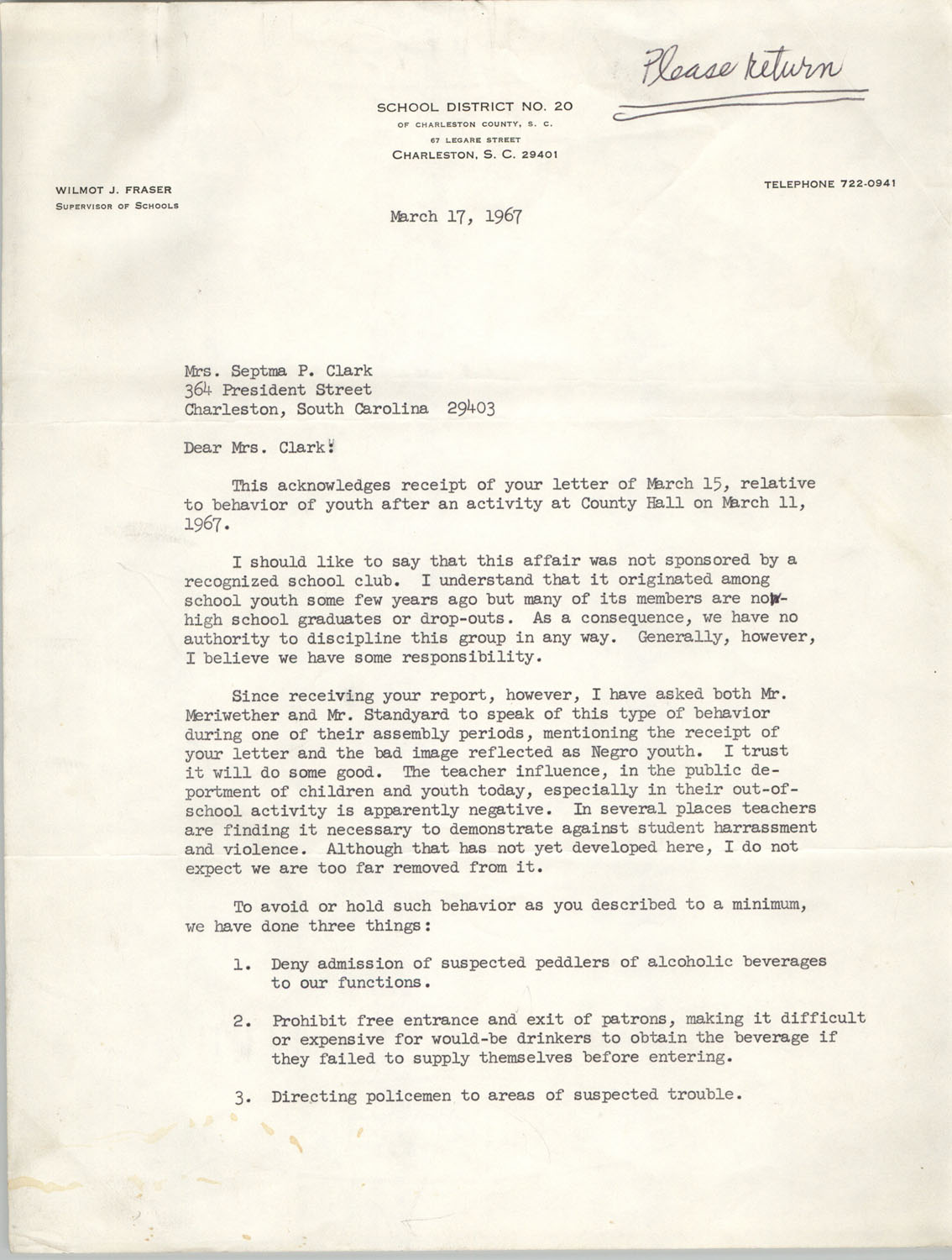 Letter from Wilmot J. Fraser to Septima P. Clark, March 17, 1967