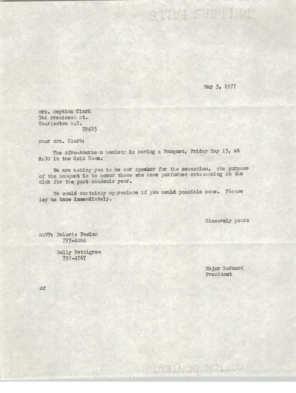 Letter from Major Bernard to Septima Clark, May 3, 1977