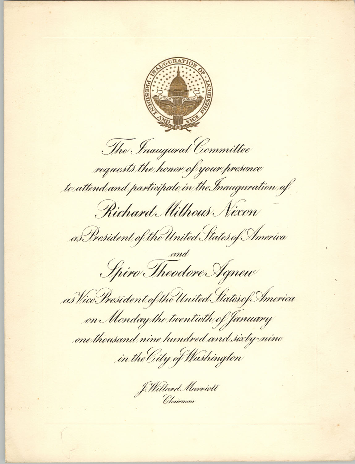 Invitation to Inauguration of Richard Nixon