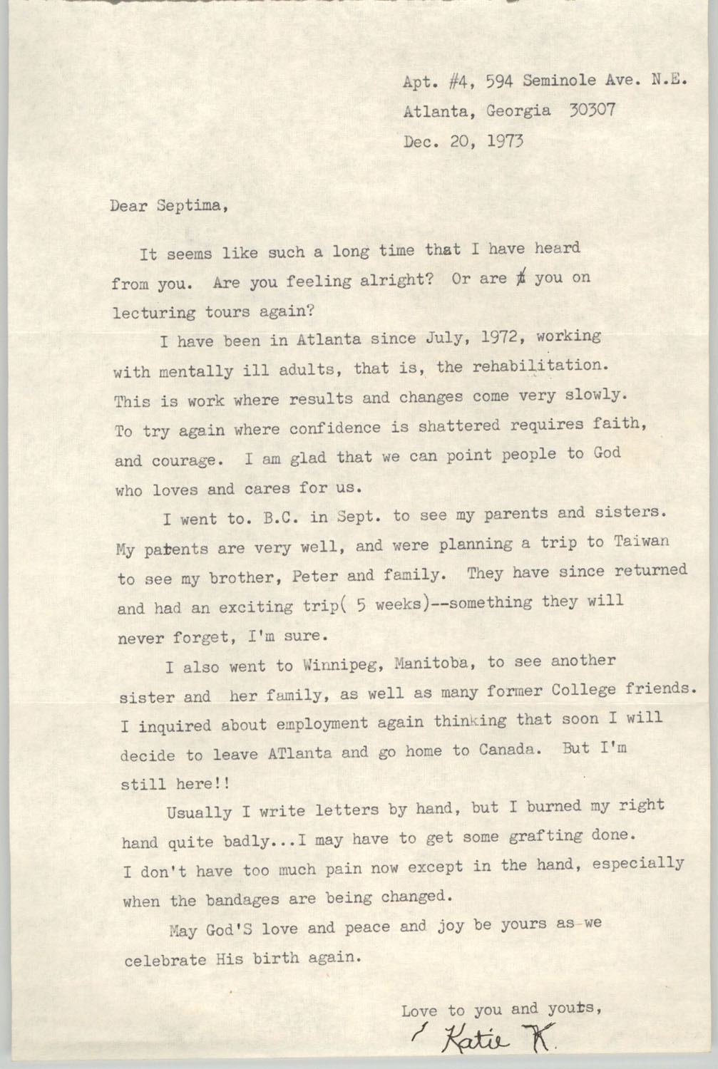 Letter from Katie K. to Septima P. Clark, December 20, 1973