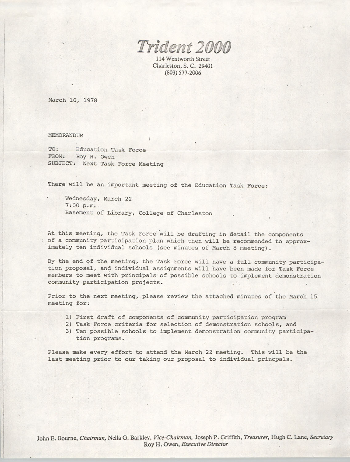 Trident Task Force Memorandum, March 10, 1978