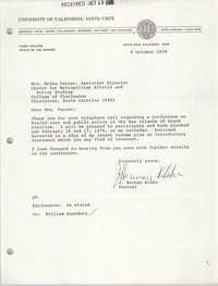 Letter from J. Herman Blake to Melba Varner, October 9, 1978