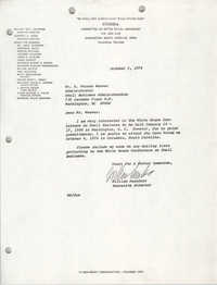 Letter from William Saunders to A. Vernon Weaver, October 2, 1978