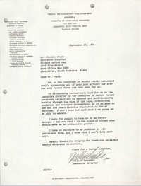 Letter from William Saunders to Charles Fruit, September 29, 1978