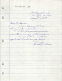 Letter from Normal L. Green to William Saunders, August 3, 1979