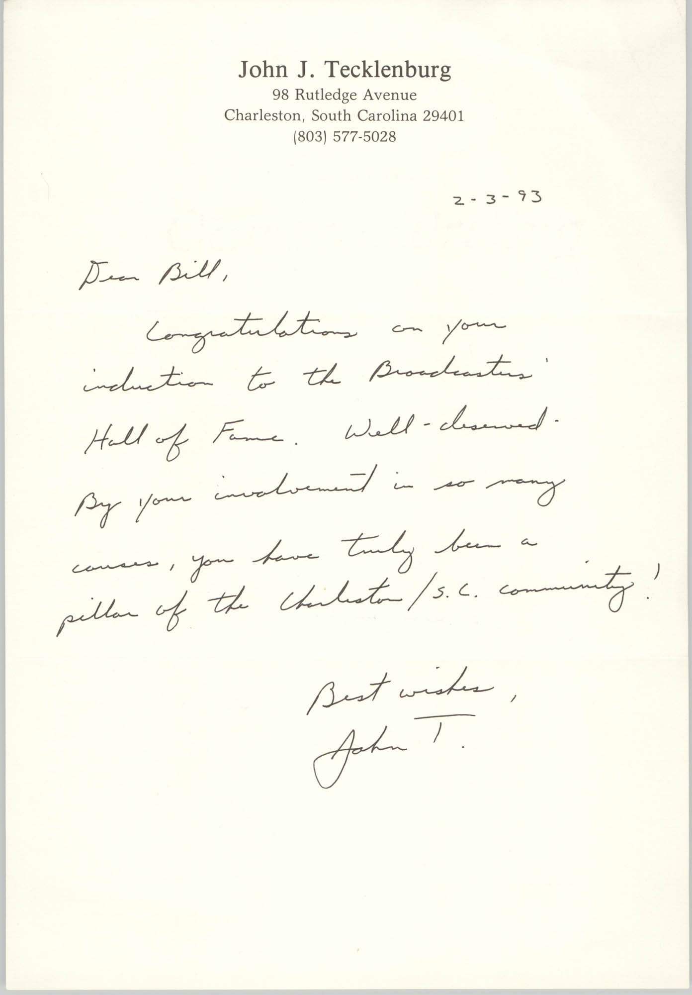 Letter from John J. Tecklenburg to William Saunders, February 3, 1993